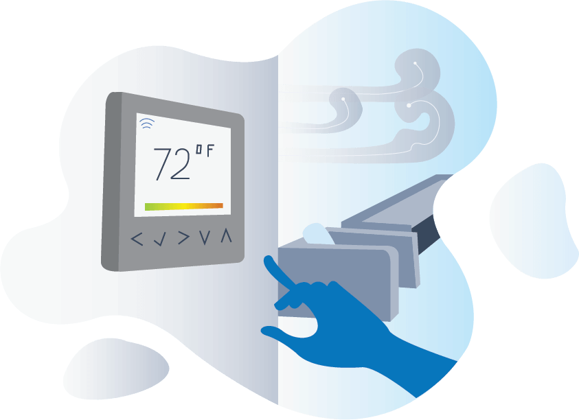 Illustration of Air Condition temperature dial at 72 F